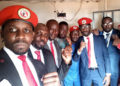 Bobi Wine with other People Power leaders at Kasangati Police Station earlier today