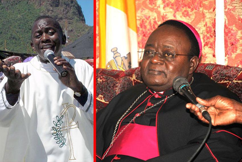 Fr. Anthony Musaala (left) and Archbishop of Kampala Dr. Cyprian Kizito Lwanga
