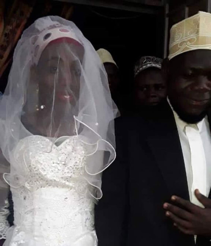 Sheikh Mutumba with 'Nabukeera' on their wedding in December last year