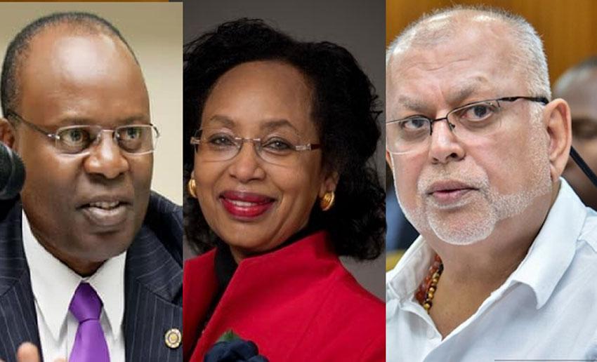 L-R: Dr Louis Kasekende, Anne Kabagambe and Dr Sudhir Ruparelia