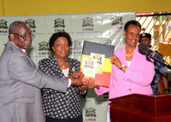 L-R: UNEB Executive Secretary Dan Odongo, UNEB Chairperson Prof Mary Okwakol and Education Minister Janet Munseveni releasingthe 2019 PLE results on Friday