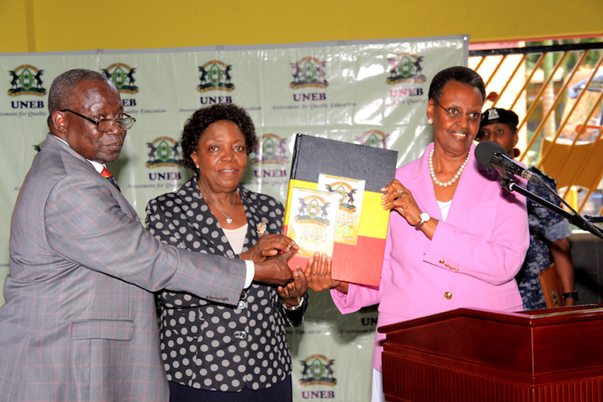 L-R: UNEB Executive Secretary Dan Odongo, UNEB Chairperson Prof Mary Okwakol and Education Minister Janet Munseveni releasing the 2019 PLE results recently