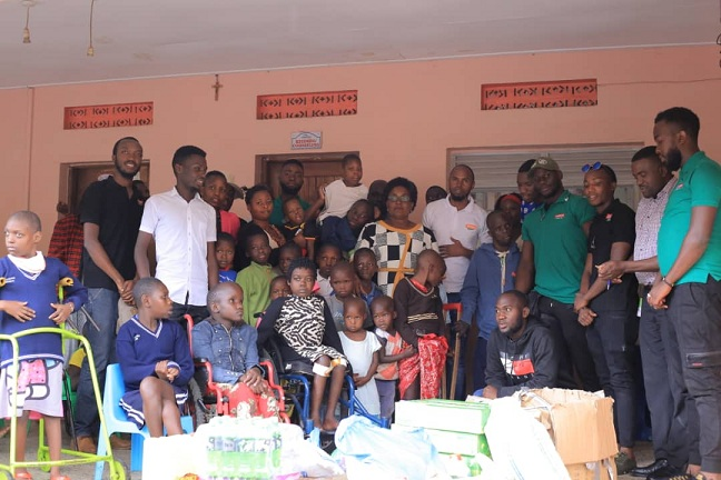 The Comedy Store Uganda team at Katalemwa Cheshire Rehabilitation Home on Tuesday