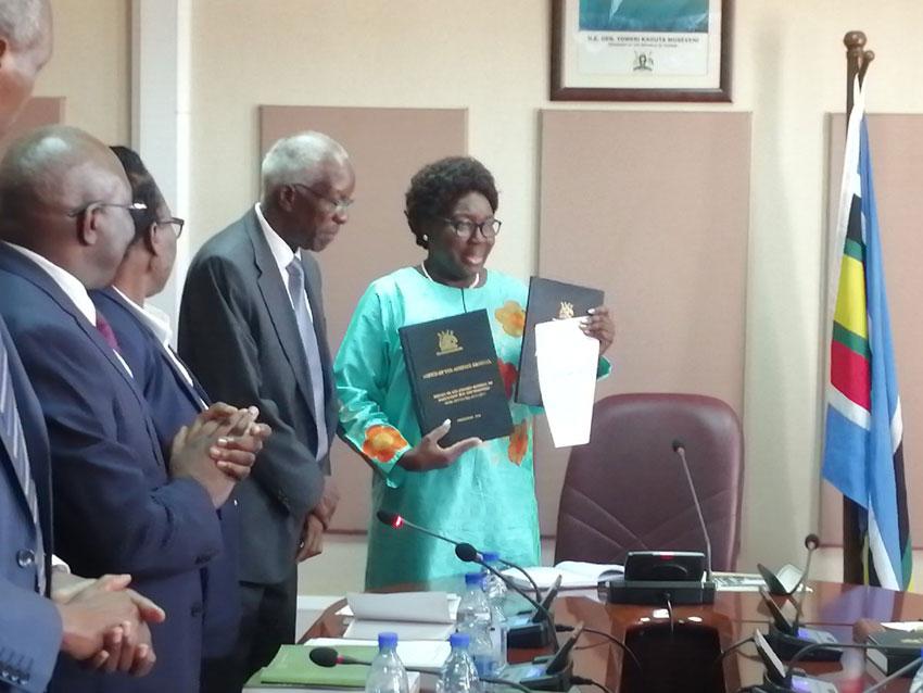 Speaker Kadaga with Auditor General John Muwanga