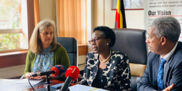 Health Minister Dr Jane Ruth Aceng [m] addressing the media on Friday