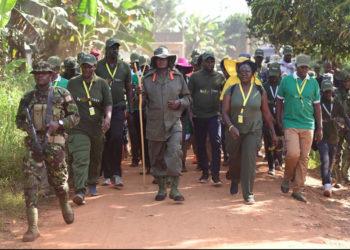 President Yoweri Museveni walking with his supporters during the 'Afrika Kwetu' trek