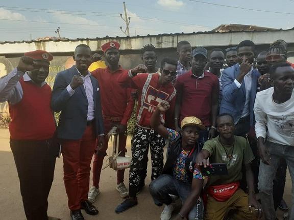 Bobi Wine (third from right) standing with youth from Karamoja, from left is Chairman Nyanzi and Joel Ssenyonyi the People Power spokesman