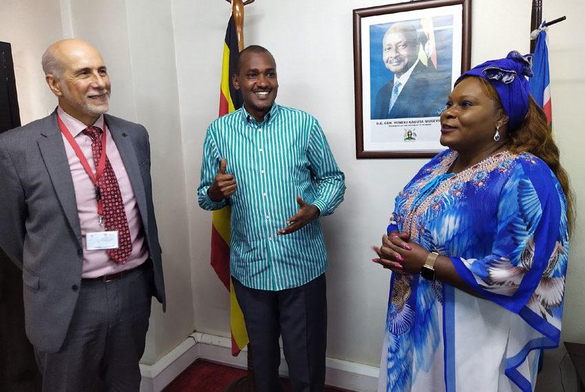 Minister Frank Tumwebaze after meeting the EU Ambassador Attilio Pacifici and the UN Resident Coordinator Rosa Malango on Thursday