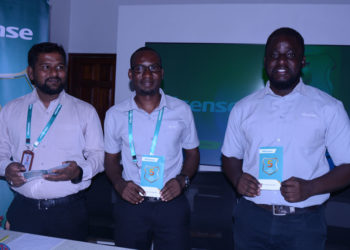 L-R: Mr Hisense Uganda Sales & Marketing Manager Moin Mohammed, Patrick Sande, Hisense Uganda Head Office Showroom Manager and Ivan Kakembo, the Assistant Marketing manager