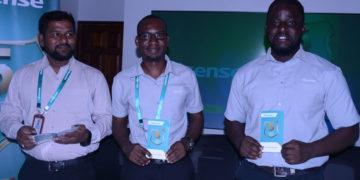 L-R: Mr Hisense Uganda Sales & Marketing Manager Moin Mohammed, Patrick Sande, Hisense Uganda Head Office Showroom Manager and Ivan Kakembo, the Assistant Marketing manager