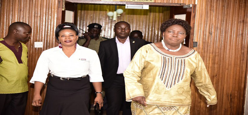 Kadaga (R) with the Fund Manager, Mirember after the closure of the meeting