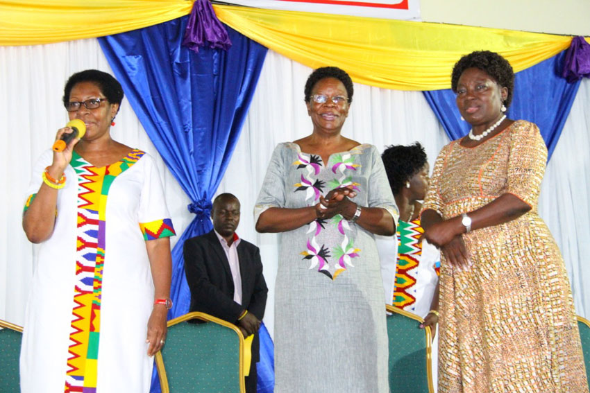 Speaker Kadaga [right] at Greenhill Schools Women's Day Celebrations on Friday