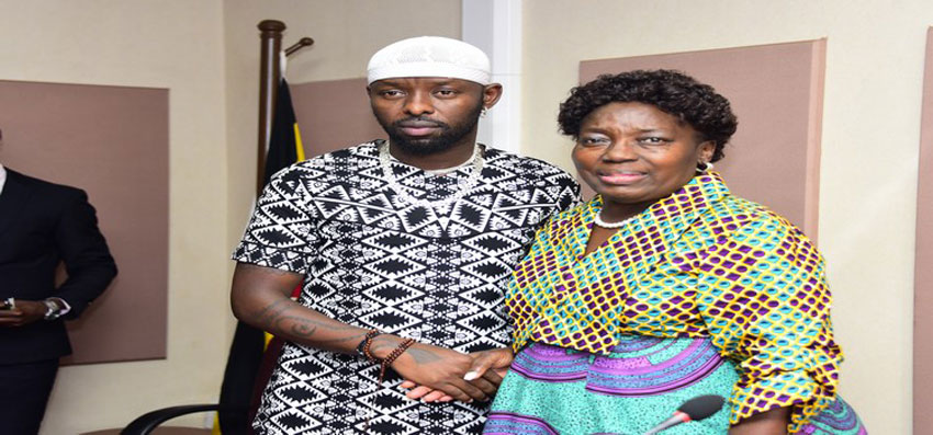 Eddy Kenzo with the Speaker of Parliament Rebecca Kadaga