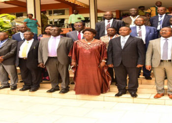 Kadaga (Front centre) with other delegates to the conference at the Serena Hotel