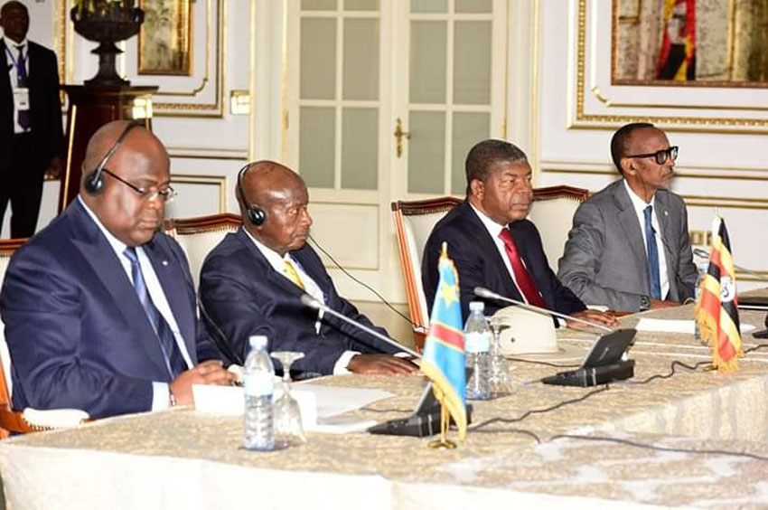 L-R:DRC President  Felix Tshisekedi, Uganda President Yoweri Museveni, Angola President Joao Lourenco and Rwanda President Paul Kagame during the summit on Sunday