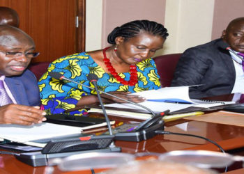 Hon Rwamirama(L), Hon Kyambadde (C) and Hon Ssewungu during the meeting with the Speaker