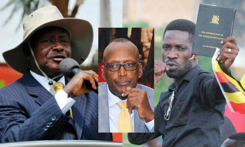 L-R: President Museveni, Gen Tumukunde and Bobi Wine