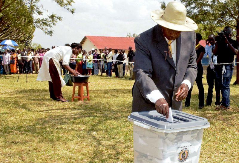 President Yoweri Museveni casting his vote in past election