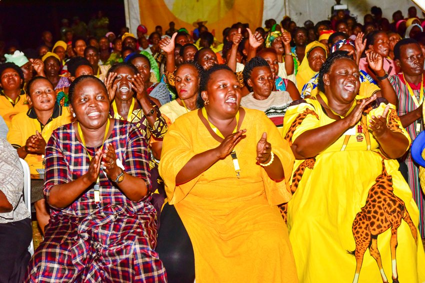 Women cheering during the closing ceremony of the NRM National Women League Leadership course at Nyondo Core PTC campus Mbale on March 7, 2020. Photo by PPU / Tony Rujuta