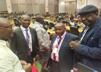 Committee Clerk Boniface Habana (left), Pan African Parliament MPs, Hon. James Kakooza (Uganda), Hon. Pupurai Togarepi (Zimbabwe) and Hon. Djibril War (Senegal) during the online child sexual exploitation workshop in Midrand, South Africa.