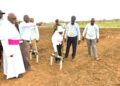 President Museveni commissions Aringo Omone Small Scale Irrigation system in Pader districs as Archbishop Odama (L) looks on. Saturday March 7, 2020. PPU Photo