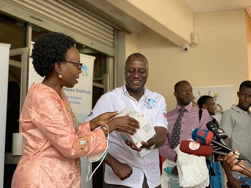 Health Minister Jane Ruth Aceng receiving the medical supplies and equipment for coronavirus