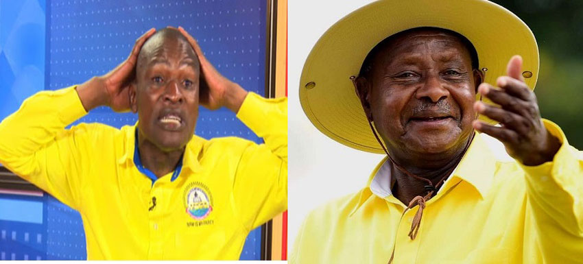 Eyali omwogezi wa Pulezidenti Joseph Tamale Mirundi ne Pulezidenti Museveni