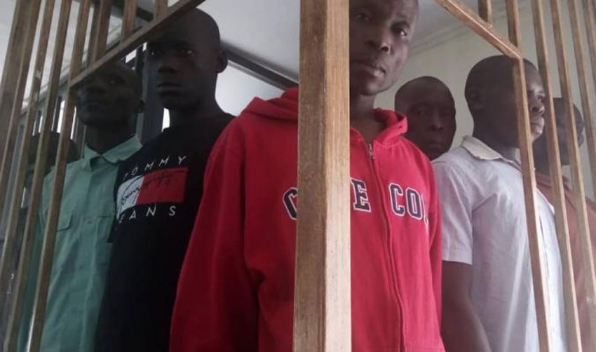 Mugoya in red while at the Court Martial on Wednesday