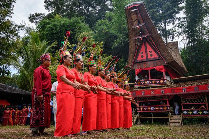 The Torajans performing a funeral rite ritual