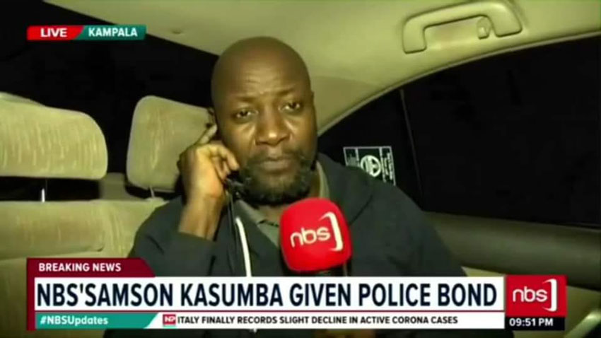 Samson Kasumba minutes after being released from detention