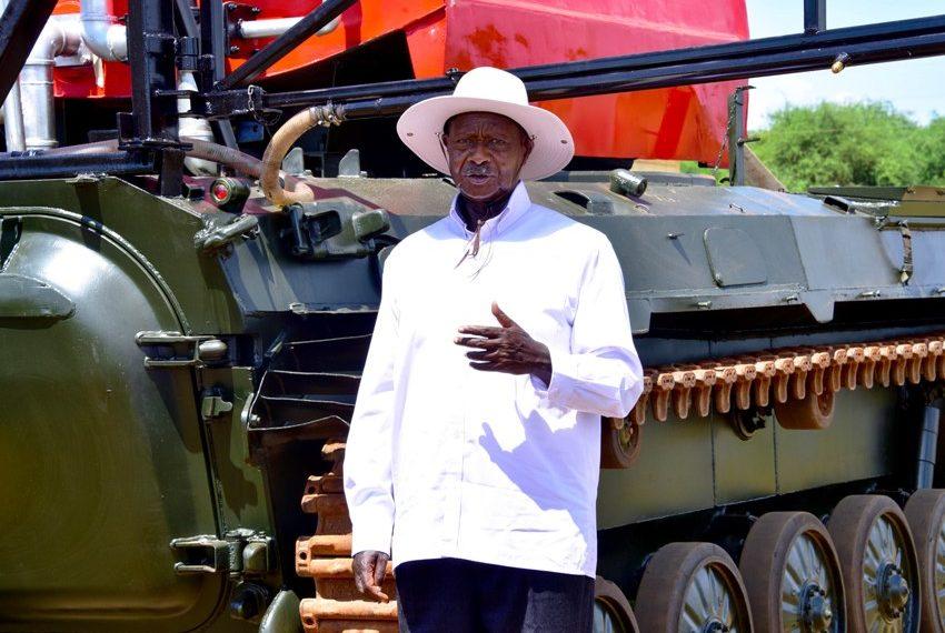 President unveils Uganda's first prototype firefighting, pest control tanker