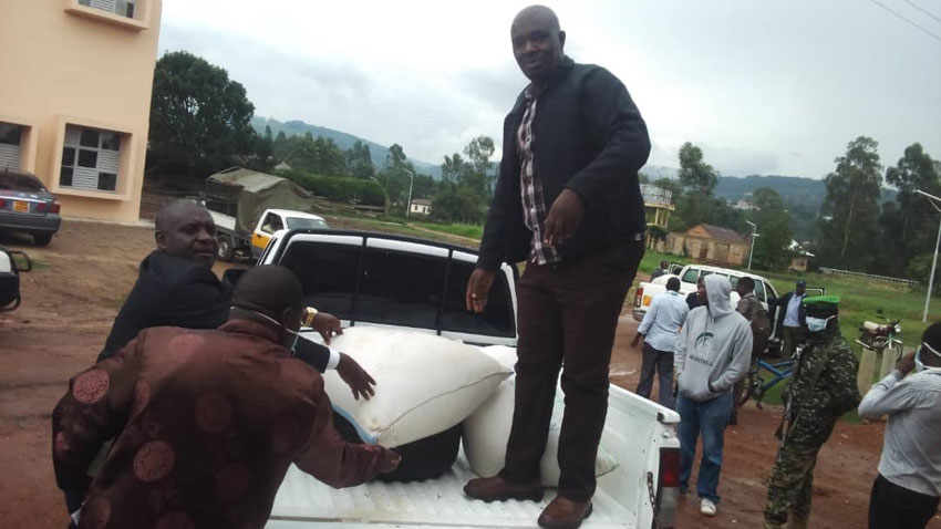 RDC Nzeirwe on the pick-up with the donated rice