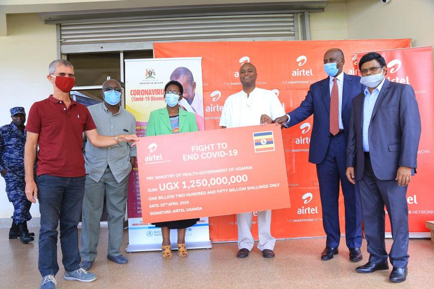Airtel Uganda making their donation on Wednesday