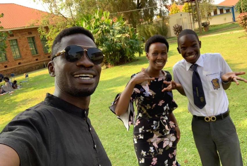 Bobi Wine, wife Barbie and their son Solomon Kampala
