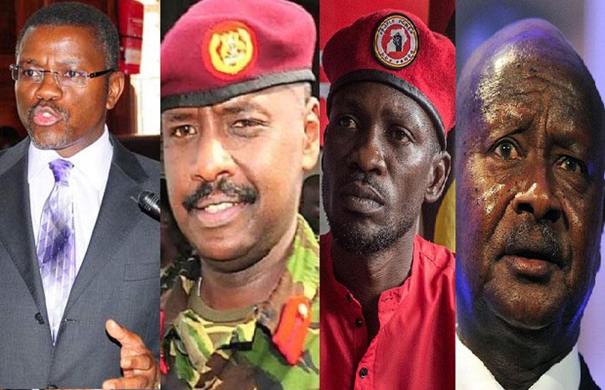 L-R: Katikkiro Charles Peter Mayiga, Gen Muhoozi Kainerugaba, Bobi Wine and President Yoweri Museveni
