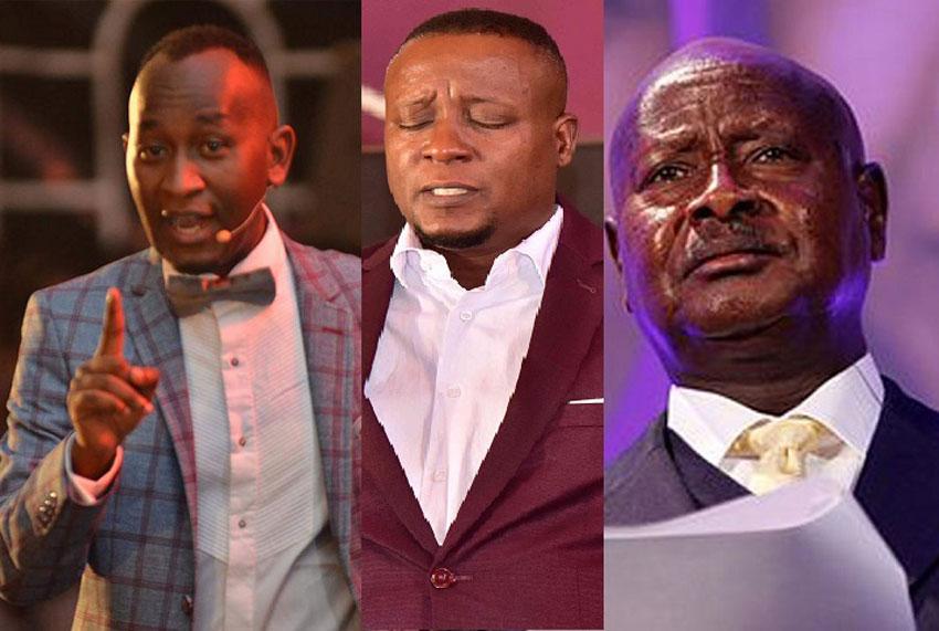 Pastors Elvis Mbonye, Joseph Kabuleta and President Yoweri Museveni