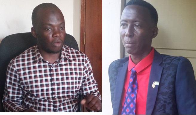 Akulembera ekitongole ekigatta bannamawulire mu Ggwanga Kazibwe Bashir Mbaziira ne Yusufu Baliruno of Uganda