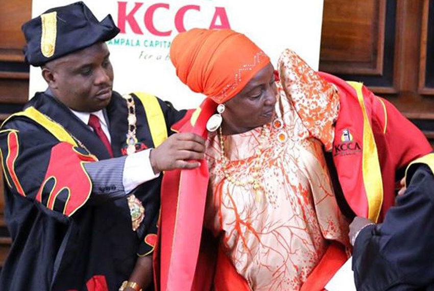 Erias Lukwago with his former deputy Hajjat Sarah Kanyike