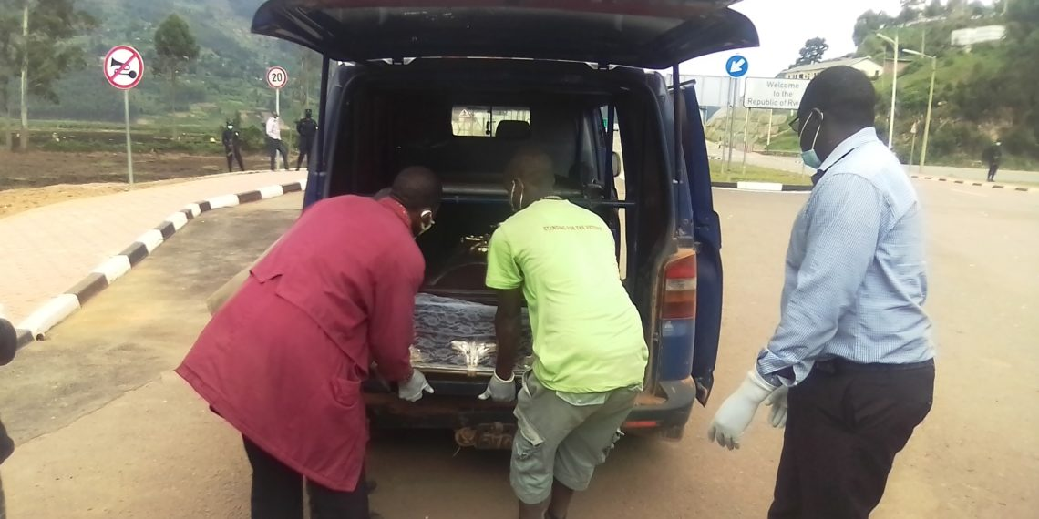 The body of Muhereza being handed over to Uganda on Monday this week