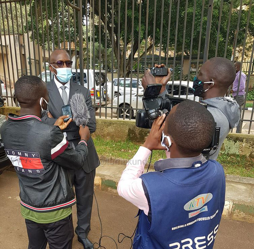 Gen Tumukunde speaking to journalists after the court session on Monday