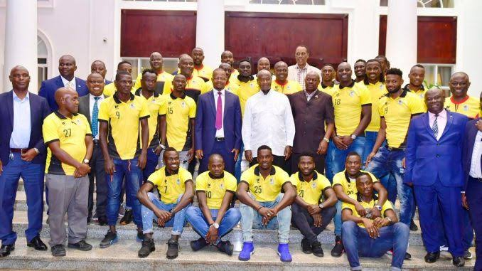 President Yoweri Museveni with Uganda Cranes players and officials at State House Entebbe last year
