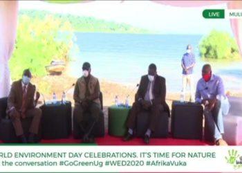 NFA ED Tom Okello, Deputy Speaker Jacob Oulanyah, NEMA ED Tom Okurut and Little Hands Go Green CEO Joseph Masembe during an online conversation on World Environment Day last Friday at Mulungu beach