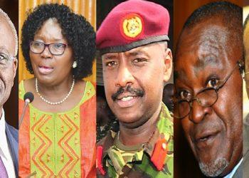 L-R: Amama Mbabazi, Rebecca Kadaga, Muhoozi Kainerugaba, Gilbert Bukenya and the late Apolo Nsibambi