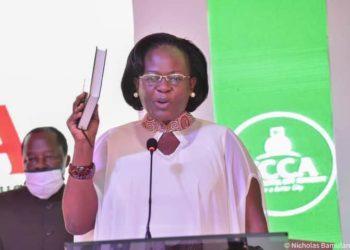 Dorothy Kisaka taking an oath of Office on Thursday