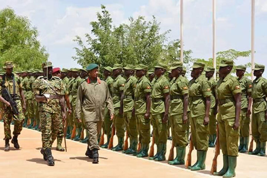 President Museveni inspects a parade during the pass out of 6,239 Local Defence Unit (LDU) trainees at Kaweweta Military Training School on March 15, 2019