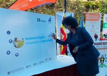 ICT Minister Nabakooba during the launch of Digital Solutions to Alleviate Challenges faced by Farmers in Rural Communities