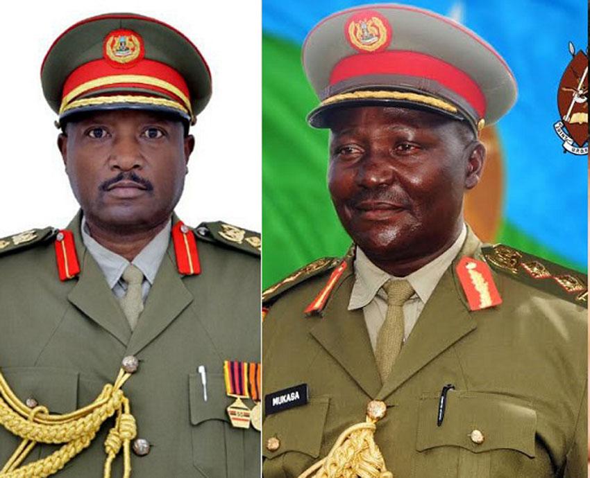 L-R: Brig General Victor Twesigye [late] and Maj General Eric Mukasa [late]