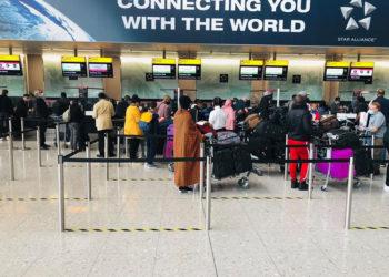 Ugandans at London Heathrow Airport on Wednesday