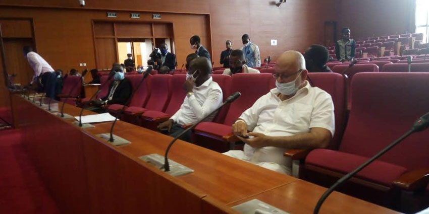 Some of the arcade owners Sudhir Ruparelia and Ham Kiggundu in a meeting organised by Minister Betty Amongi on Tuesday