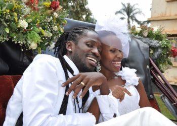 Bobi Wine and Barbie on their wedding day